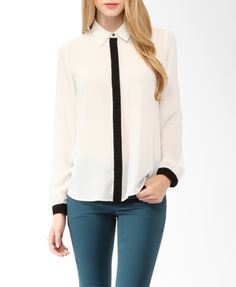 Pleated Trim Shirt | FOREVER21 - 2019571199
