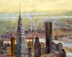 Original artwork from artist Hall Groat II on the Daily Painters Gallery Chrysler Building, Artsy Fartsy, New York City, City Scapes, Skyline, Landscape, Wallpaper, Artwork, Artist