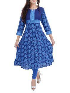 blue cotton a line kurta on LIMEROAD.COM