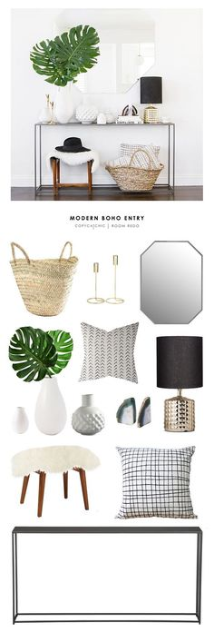This minimal boho chic entryway design by Sarah Sherman Samuel also featured in . This minimal boho chic entryway design by Sarah Sherman Samuel also featured in Sunset Magazine is recreated for less by Boho Chic Entryway, Entryway Table Modern, Modern Hallway, Hallway Console Table, Small Hallway Table, Entrance Table Decor, Console Mirror, Entry Mirror, Hall Tables