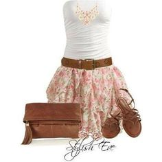With a more modest top and the skirt just a bit longer, this outfit would be perfect
