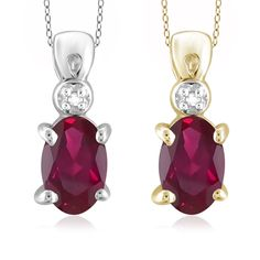 Jewelonfire Sterling Silver Ruby and Diamond Accent Pendant, Women's