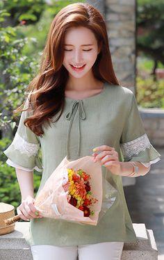 StyleOnme_Ruffle Lace Sleeve Detail Ribbon Tie Blouse #olive #green #lace #ribbon #blouse #koreanfashion #kstyle #kfashion #feminine #summertrend