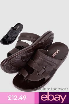 caa0f1c638d9 Mens Faux Leather Slip On Beach   Holiday   Summer Sandals   Mules   Shoes