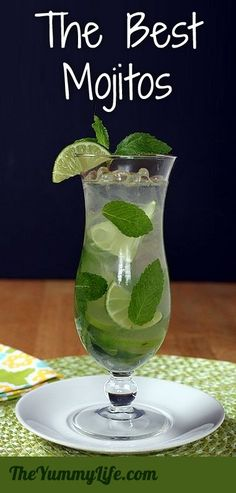 Mojitos: Servings: makes 1 mojito  Ingredients: 10-15 small fresh mint leaves, plus a sprig for garnish 1 lime, sliced into thin rounds 1 lime, juiced (2 tbs) simple sugar syrup 2 oz. (4 tbs) light rum ice, cubes 3 oz. (6 Tbs) club soda  http://www.theyummylife.com/Mojitos for full ingredients and how to make