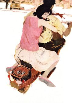 Bernie Fuchs was an American illustrator known for advertising art, magazine illustration and portraiture, including for a series of U. Art And Illustration, Fuchs Illustration, Magazine Illustration, Vespa Illustration, Vintage Illustrations, Inspiration Art, Art Inspo, Couple Art, Art Design