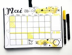 monthly spread déco page calendrier mensuel mai