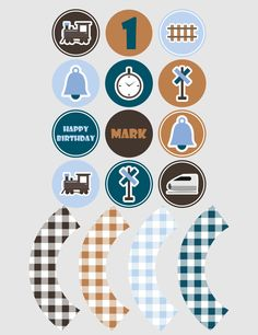 Printable cupcake toppers | Printable cupcake wrappers | Printable Party Circles | Train Party | Boy Party |Customised Download PDF by JJPrintables on Etsy