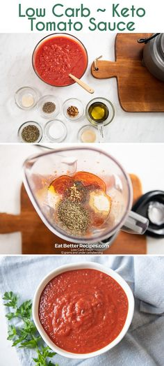 Low Carb Homemade Tomato Sauce in 5 Minutes KETO, GLUTEN FREE. Quick easy recipe for keto tomato sauce with no added sugar like RAO's marinara tomato sauce How To Make Tomato Sauce, Tomato Sauce Recipe, Homemade Tomato Sauce, Homemade Marinara, Sauce Recipes, Keto Recipes, Healthy Low Carb Dinners, Low Carb Dinner Recipes, Low Carb Keto