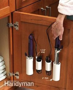 PVC pipe Hair tool storage