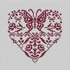 Coeur de papillons et fleurs à broder en monochrome. Grille : 1,50 euros 2 grilles achetées = 1 grille offerte