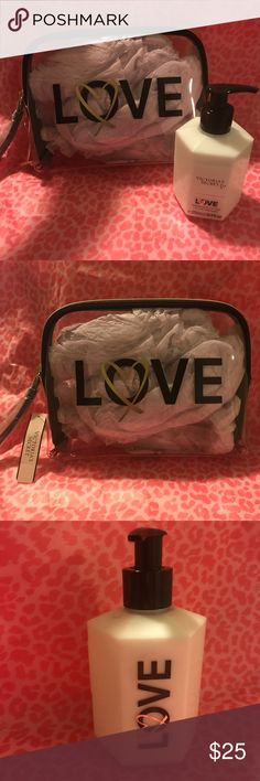 New Victoria's Secret Cosmetic Bag Love Lotion Both items are Brand New. Clear cosmetic bag and Love fragrance lotion. Victoria's Secret Bags Cosmetic Bags & Cases