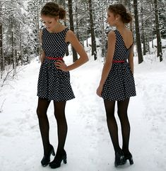 Black tights with polka dots? I say yes! I adore this outfit