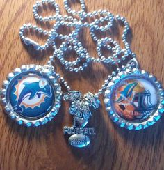 Miami Dolphins bottle cap necklace by LegacySportsJewelry on Etsy