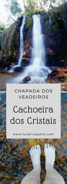 Cachoeira dos Cristais, na Chapada dos Veadeiros - Goiás. Um complexo de cachoeiras que pode ser visitado por toda família, inclusive crianças e idosos. Foto 1: Site Camping e Cachoeira dos Cristais. Foto 2: Blog Fui Ser Viajante.