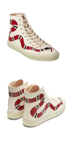 GUCCI Major snake-appliqué high-top leather trainers