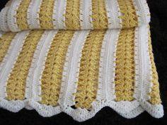 yellow crocheted blanket