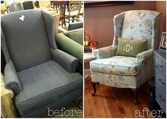One of the many new DIY projects I'm starting for the new house: Reupholstering a Wingback chair ... eek!