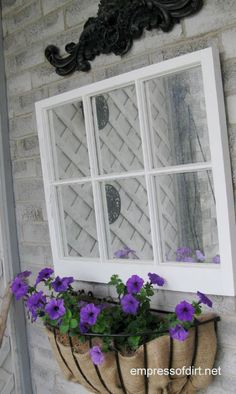 """Use burlap instead of coir to line a window box. Hang up a mirror that looks like a window.  From """"Empress of Dirt"""", a wonderful website"""