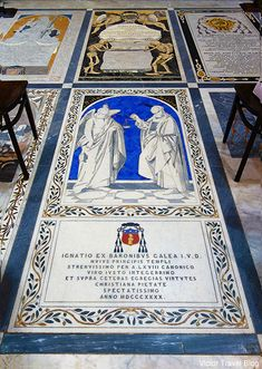 Beautiful tombstones of the St. Paul's Cathedral in Mdina. Malta. https://victortravelblog.com/2014/07/01/return-maltese-islands-order-of-malta/