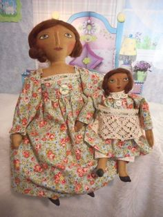 Primitive art dolls, Mother's day collectible original by Dumplinragamuffin #NaivePrimitive