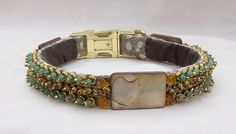 Renaissance style luxury dog collar features exquisite hand beading, giving it a heavily jeweled, glamorous finish. You and your dog will turn heads Dog Belt, Luxury Dog Collars, Renaissance Fashion, Collar And Leash, Cream And Gold, Green Aventurine, Brass Chain, Shades Of Green, Glass Beads