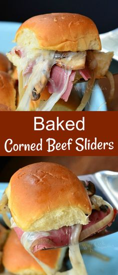 Mouthwatering baked slider sandwiches made with corned beef, Swiss cheese and sauteed mushrooms and onions.
