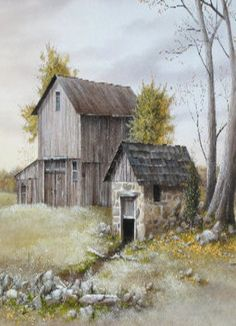 Old Barn - Painting Barn Pictures, Pictures To Paint, Images Victoriennes, Art Watercolor, Barn Art, Country Barns, Old Farm, Rustic Barn, Landscape Paintings
