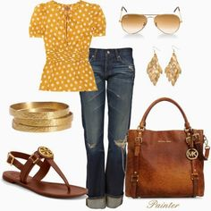 Spring Outfits | Gold  Tory Burch top, AG Adriano jeans, Tory Burch sandals, Michael Michael Kors handbag, Ray-Ban Sunglasses  by mels777