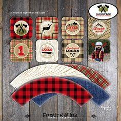 Lumberjack Cupcake Toppers & Wrappers -Printable (Camping Buffalo Plaid Flannel Beard Saw Deer Hunting Lodge Cabin Woodland Lake Axe Rustic)