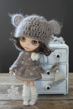 Last one ~For Blythe. Fair Isle Lambswool and Angora Cardigan/Dress with Angora Socks and a snowflake.