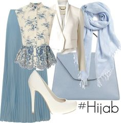 - Hashtag Hijab Outfit Long skirt blue, white and blue blouse, white blazer, with blue shawl Hijab Fashion 2016, Look Fashion, Fashion Outfits, Blue Fashion, Fashion Blouses, Trendy Fashion, Islamic Fashion, Muslim Fashion, Mode Outfits