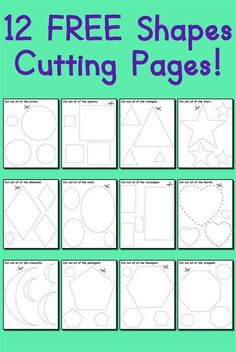 These shapes cutting worksheets for preschool and kindergarten are fun and easy to print and use! Even though these shapes worksheets were primarily created for cutting practice, they can also be used as shapes coloring pages and tracing worksheets. Preschool Printables, Preschool Worksheets, Preschool Learning, Early Learning, Learning Activities, Preschool Activities, Preschool Cutting Practice, Physical Activities, Cutting Practice Sheets