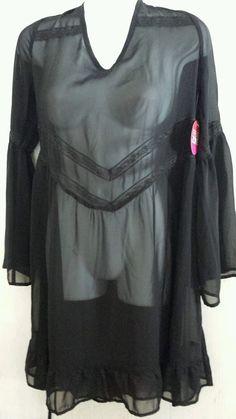 Womens Medium BONGO Black See Though Swimsuit Coverup Dress Top NEW $48 Retail #Bongo #CoverUp
