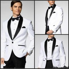 Two Piece Custom Made Generous Classic White One Button Groom Tuxedos Groomsmen Best Man Suit Mens Wedding Suits