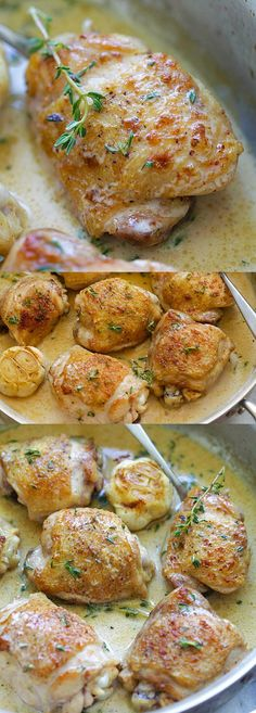 Creamy Garlic Thyme Chicken – delicious pan-fried chicken in a creamy garlic thyme sauce. Easy one-skillet chicken dinner is ready in 20 mins | rasamalaysia.com
