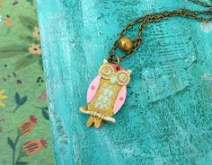Owl Necklace for Girl, little owl, owl jewelry, girl jewelry, personalized girl birthday gift, letter necklace for girl, colorful owl  A very sweet Owl