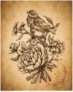 Victorian Steampunk Bird Pocket Watch Peonies - Art Print - Brigid Ashwood
