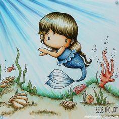 Mermaid: Skin - E0000, 000, 00, 11 / Hair - E41, 43, 44, 47 / Body - B91, 93, 95, 97, 99 / Stars in hair - Y26, 28  Sea: B0000, 000, 00, 02, 91, 93, BG10, 11, 15, G82, 85  Sand: E41, 43, 44, 50  Shells, fish, coral: E21, 23, 25, 50, 51, R00, 02, 05, 81, 83