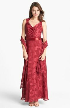 Patra Surplice Burnout Gown with Scarf (Petite) available at #Nordstrom very elegant