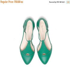 SALE Green shoes women's shoes green sandals handmade