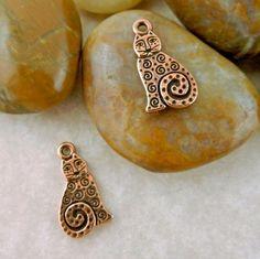 8 Antique copper Tierra Cast brand Laurel Burch designed Spiral Cat Charms…