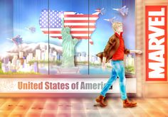 sunshiny Alfred by YaroslavaPanina.deviantart.com on @deviantART - Fourth in a series of portraits of Hetalia characters: Alfred. I love how this one looks like a display window from a travel agency or some uber-patriotic souvenir shop. And then to see a Marvel comics reference, too? Nice!