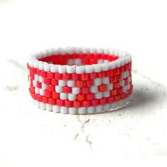 Size 7.5 Hippie band ring for women Unusual women's ring Seed bead jewelry Peyote ring Cute boho ring Ring for everyday wear Beaded jewelry