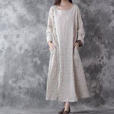 Cotton linen loose autumn long sleeve dress