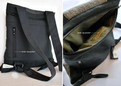 33f7abc72b458e Unique design backpack & messenger bag Gray Jute bag Black canvas Cotton  fabric Handmade women bag Stylish Stylish College bag Gift for her