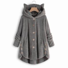 Teddy Bear Cat Ears Button Up Coat 39.99 CAD Cardigans For Women, Jackets For Women, Black Leggings Style, Thing 1, Casual Tops For Women, Women's Casual, Oversized Cardigan, Warm Sweaters, Loose Sweater