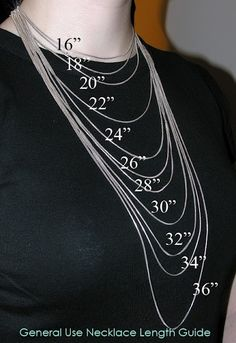 Necklace Length Chart (this one actually shows what the 'drape' of the chain looks like)