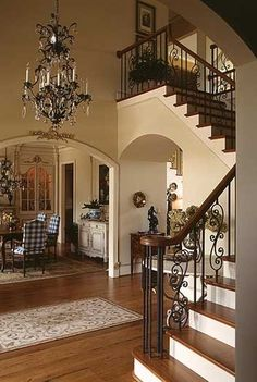 18 Elegant Staircase Design Ideas With Traditional Chandeliers - Page 8 of 20 Foyer Staircase, Staircase Remodel, Staircase Design, Staircases, Country House Interior, French Country House, Modern Country, Foyer Decorating, Tuscan Decorating