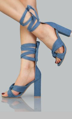 Denim Open Toe Lace Up Heels